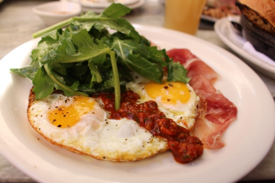 My pick- the Crispy Eggs with Proscuitto and Arugula